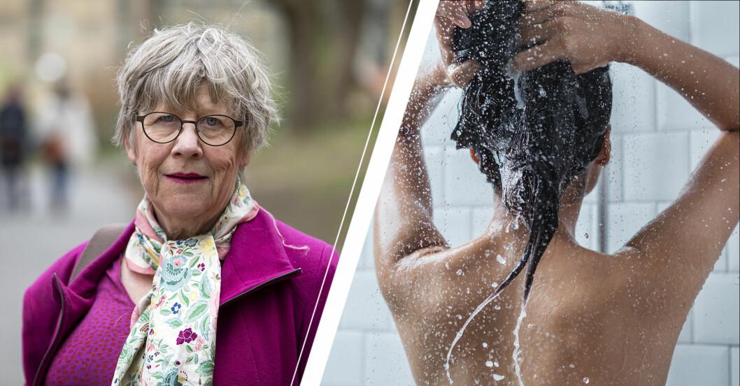 Vänster: Agnes Wold. Höger: Kvinna som duschar.