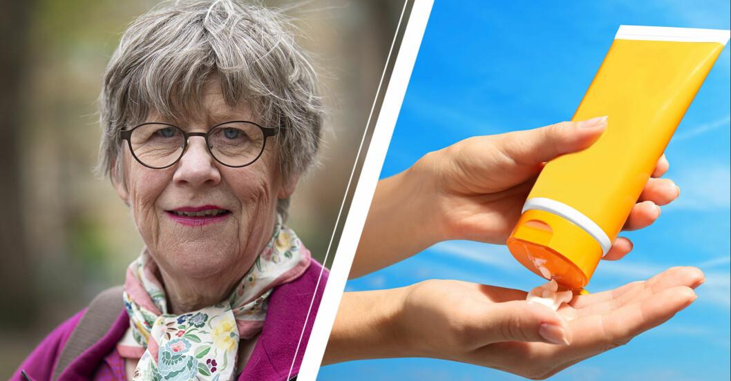 Vänster: Agnes Wold. Höger: En hand som håller i en tub med solkräm.