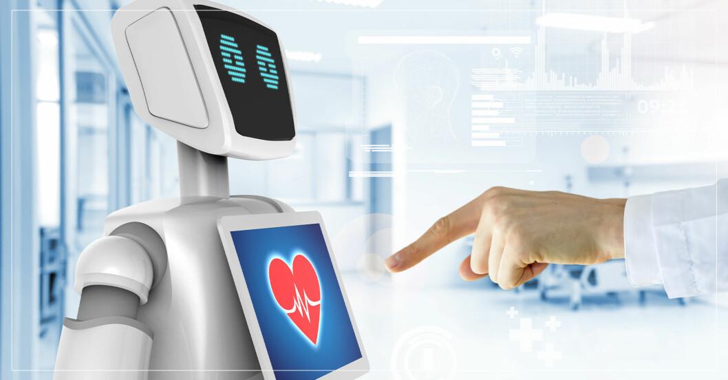 En läkare trycker på en display på en robot