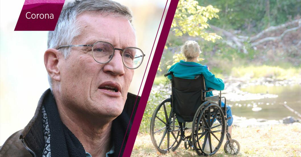 Anders Tegnell samt kvinna i rullstol