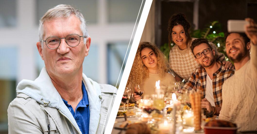 Anders Tegnell och en familj som sitter vid middagsbordet och har ett videosamtal.