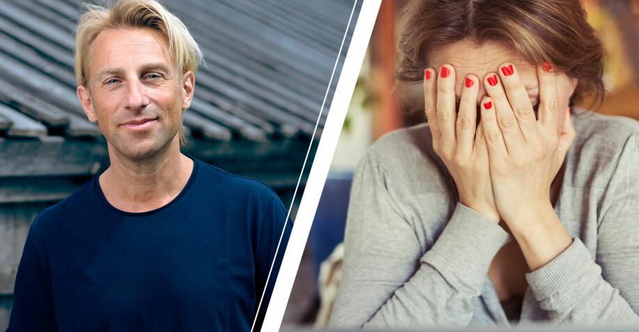 Till vänster Anders Hansen och till höger en kvinna som ser frustrerad och sorgsen ut.