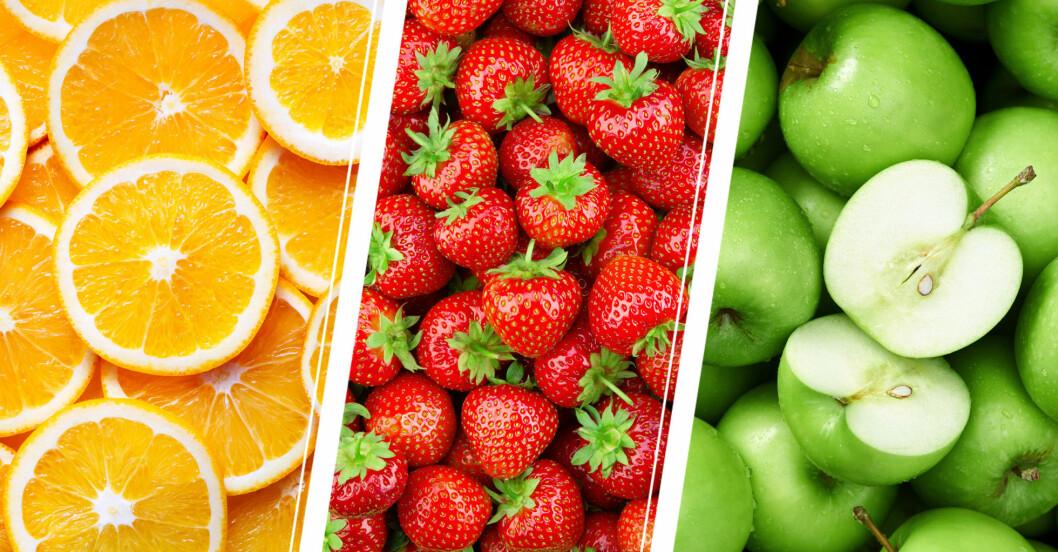Apelsin, jordgubbar och gröna äpplen.