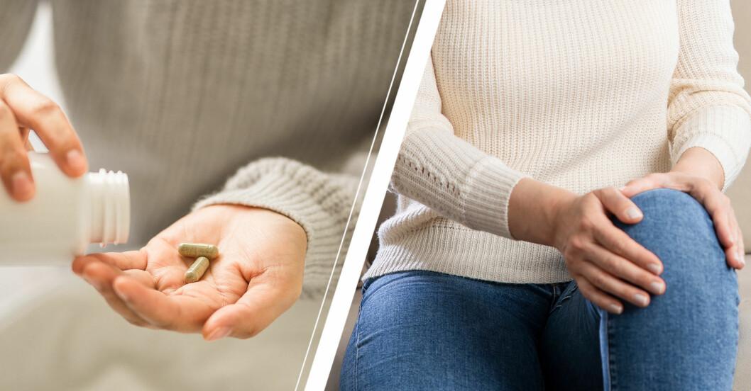 Kosttillskott och en kvinna som håller sig för knät.