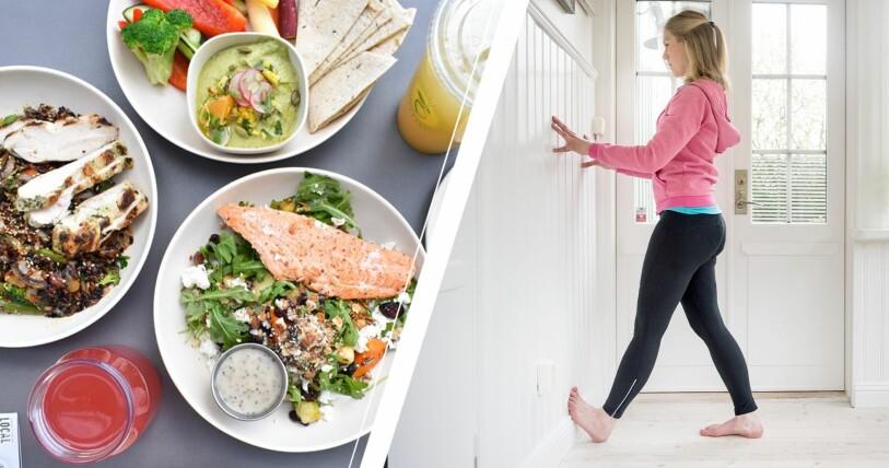 Hälsosam mat och kvinna som gör övning mot hälssporre