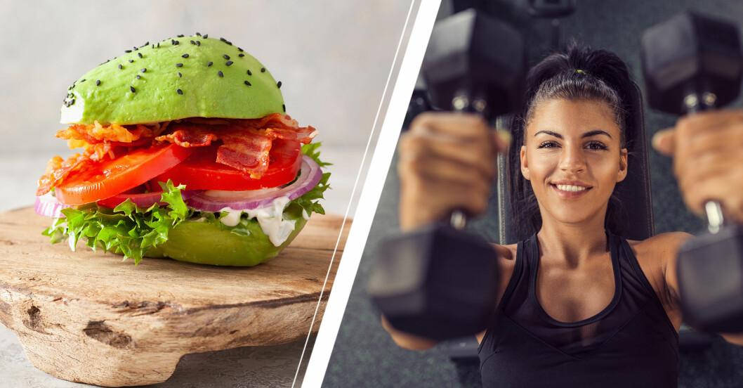 Avokadoburgare med bacon, tomat och rödlök på ett fat av trä samt en ung kvinna som tränar med hantlar på gymmet.