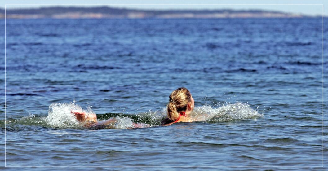 Kvinna som simmar i havet.