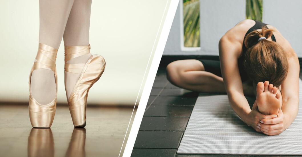 Till vänster: Ballerinaskor. Till höger: Kvinna som stretchar.