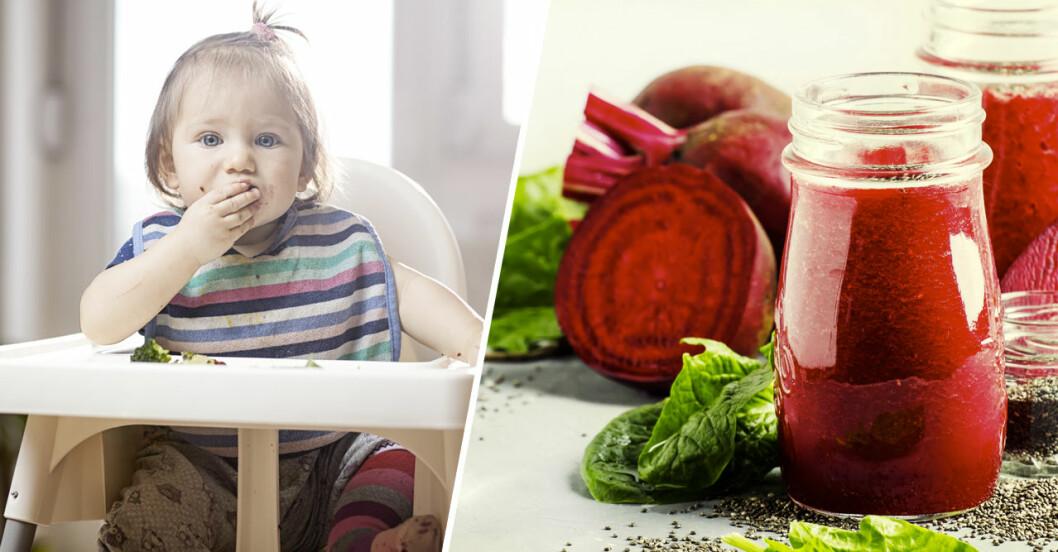 Barn under 1 år bör inte dricka rödbetsjuice.
