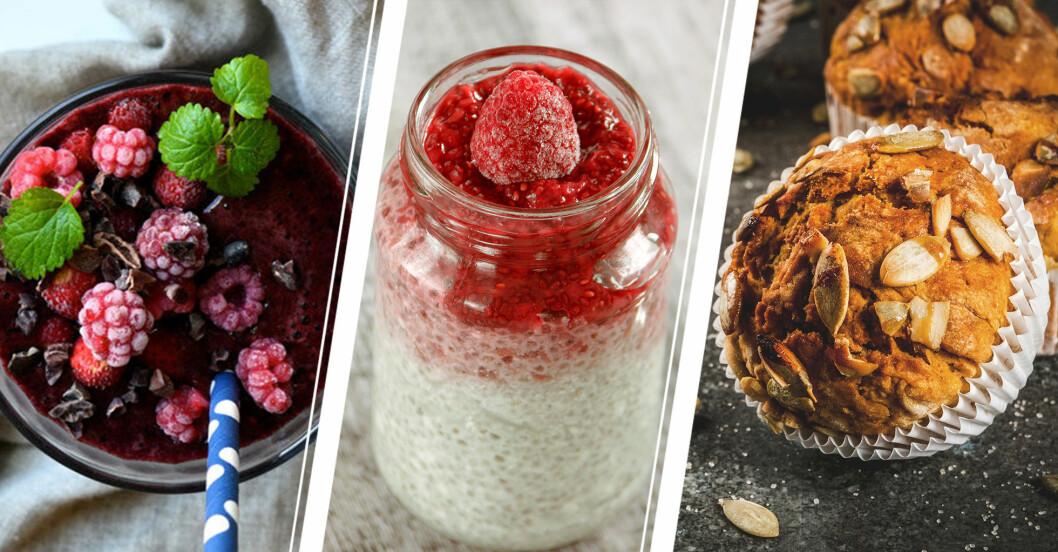 Blåbärssmoothie, burk med chiapudding och hallon, mellanmålsmuffins med pumpafrön.