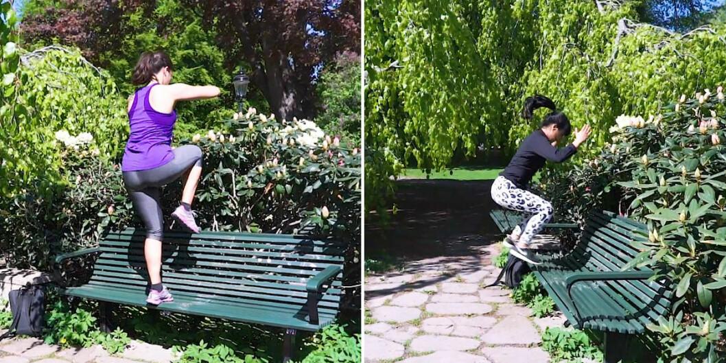 Step ups och box jumps på parkbänk.