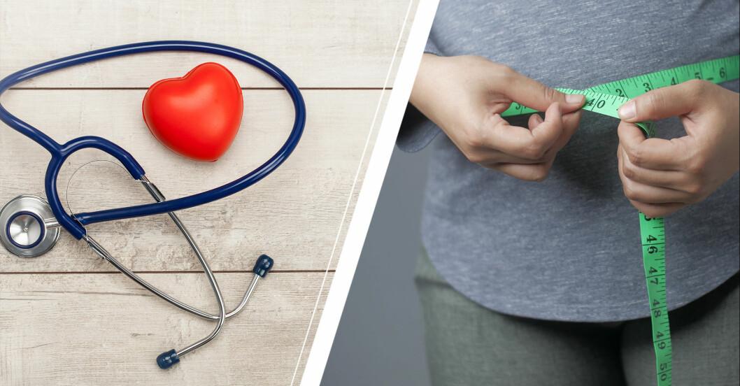 stetoskop och kvinna som mäter midjemått.
