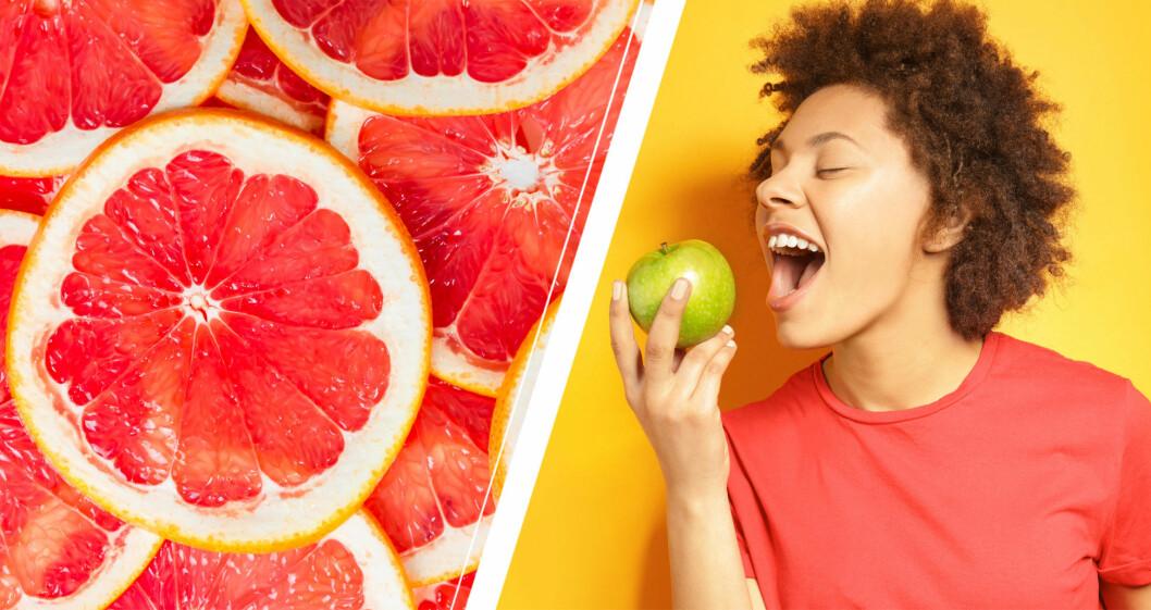 Grape frukt och kvinna som äter äpple.