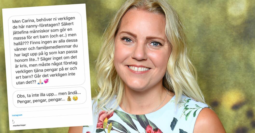 carina bergfeldt kritiseras på instagram