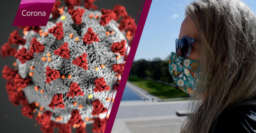 kvinna med munskydd under coronapandemin