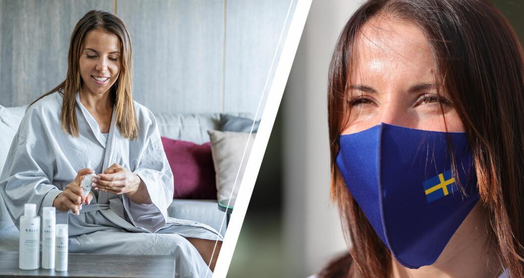 Charlotte Kalla med hudvårdsprodukter och munskydd.
