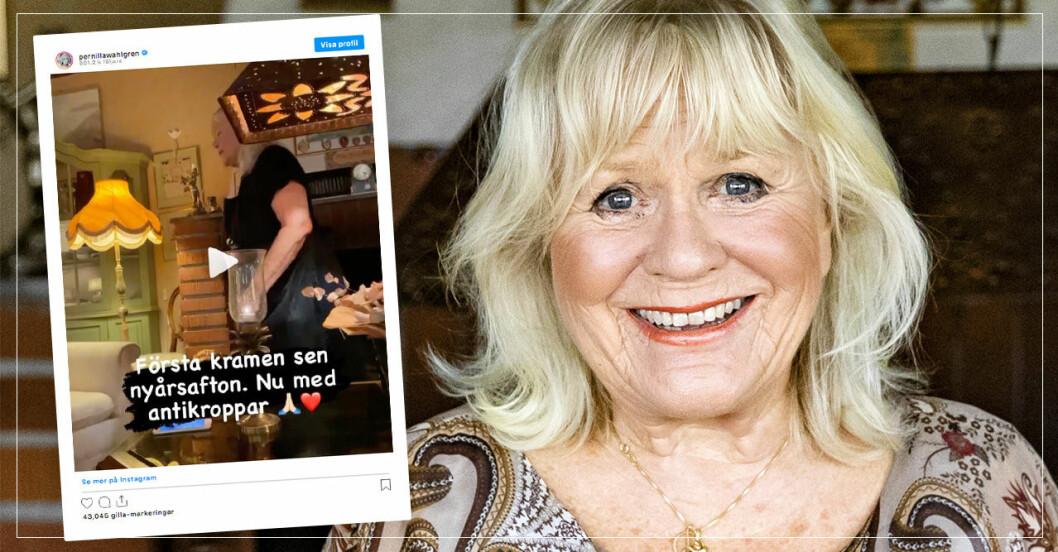 Christina Schollin fick äntligen krama dottern Pernilla Wahlgren igen.