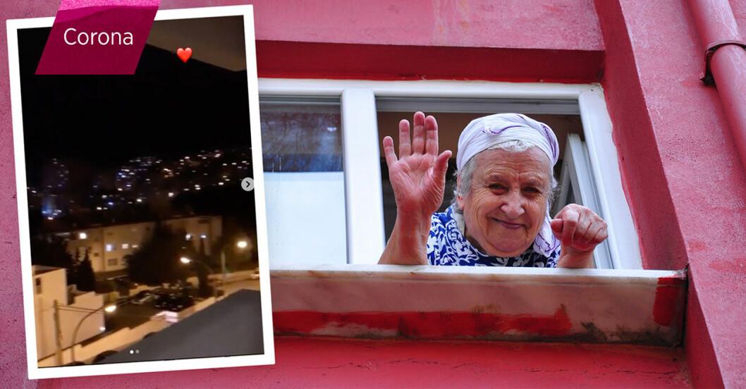 Italien sjunger sånger från balkongerna i caronakarantän