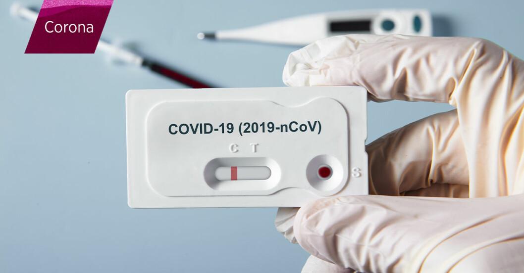 En hand som håller i ett coronavirustest