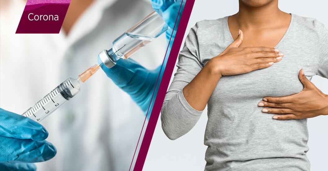 Coronavaccin och en kvinna som känner på brösten om de blivit större.