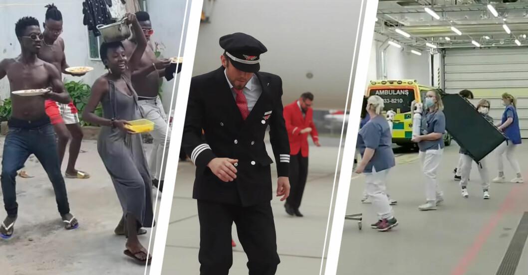 Dansgrupp från Angola, pilot dansar, vårdpersonal dansar.