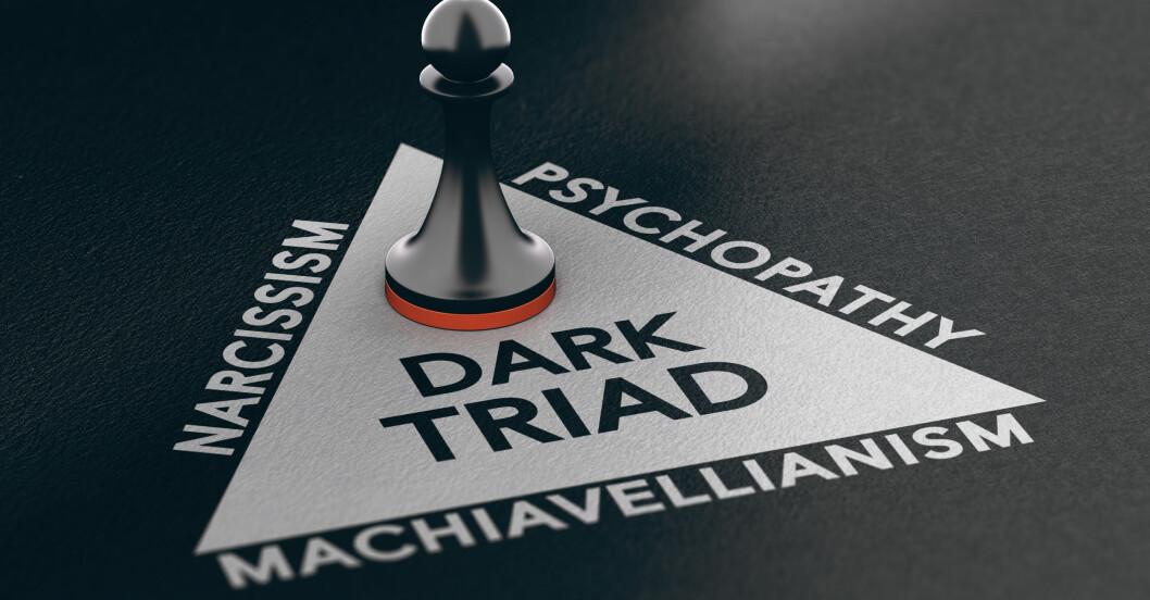 Den mörka triaden med narcissism, psykopati och machiavellisk personlighet.