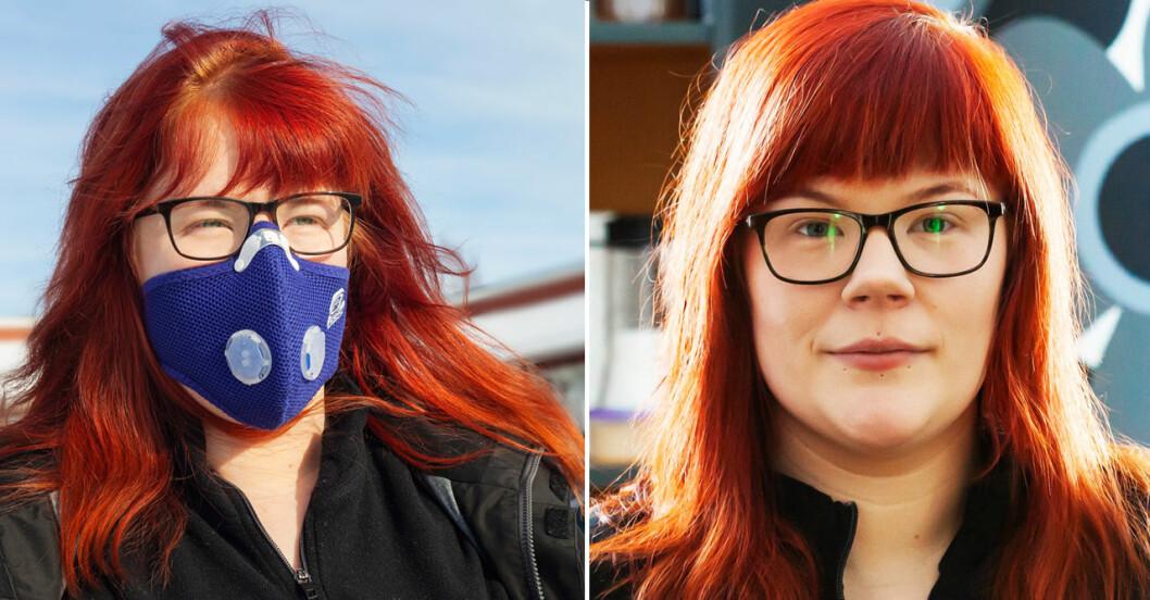 Katrin Ökvist från Luleå lider av sensorisk hyperreaktivitet, doftöverkänslighet, och tvingas bära mask för att kunna gå ut.