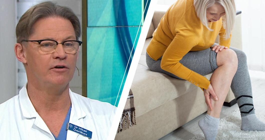 Dr Mikael Sandström och kvinna med blodpropp i benet.