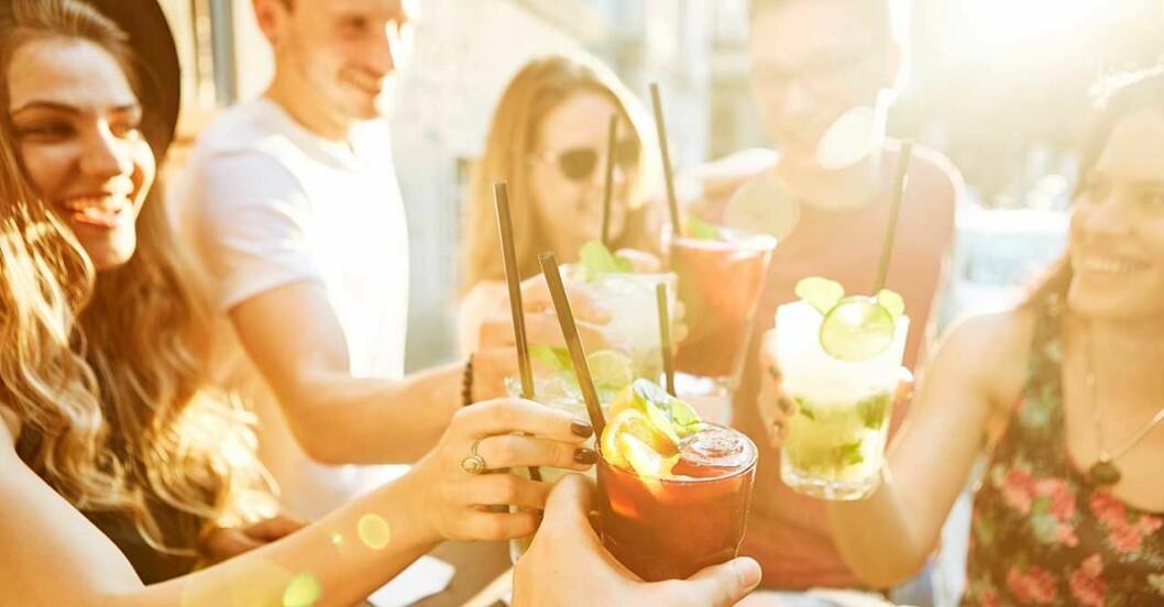 Grupp människor som skålar och dricker drinkar i solen