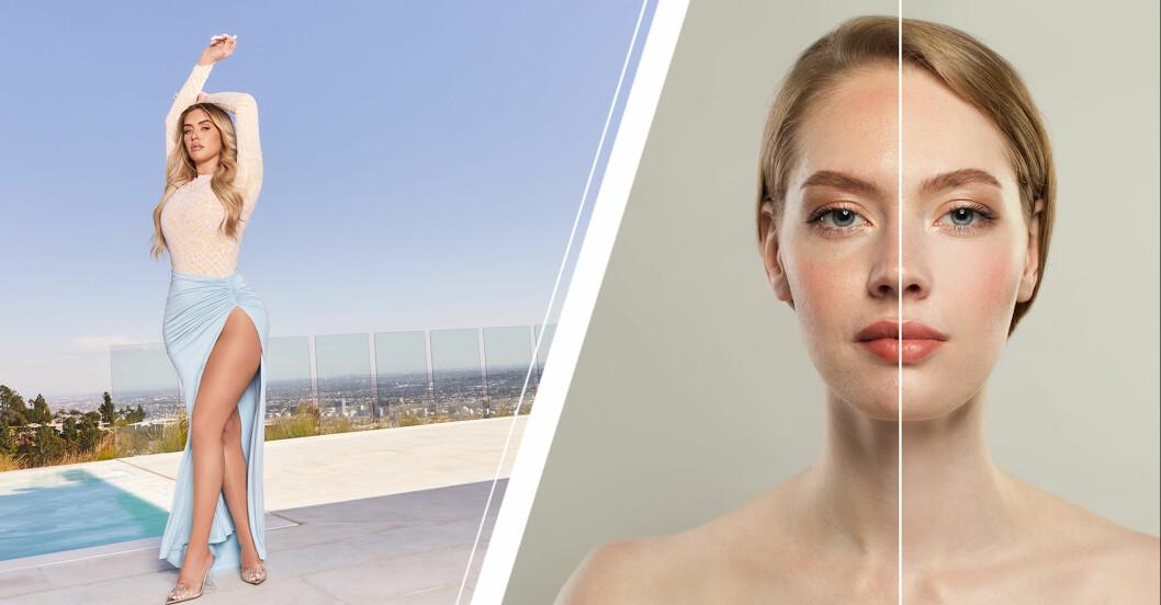 Vänster: Tjej som poserar. Höger: En redigerad bild på en tjej, före och efter.