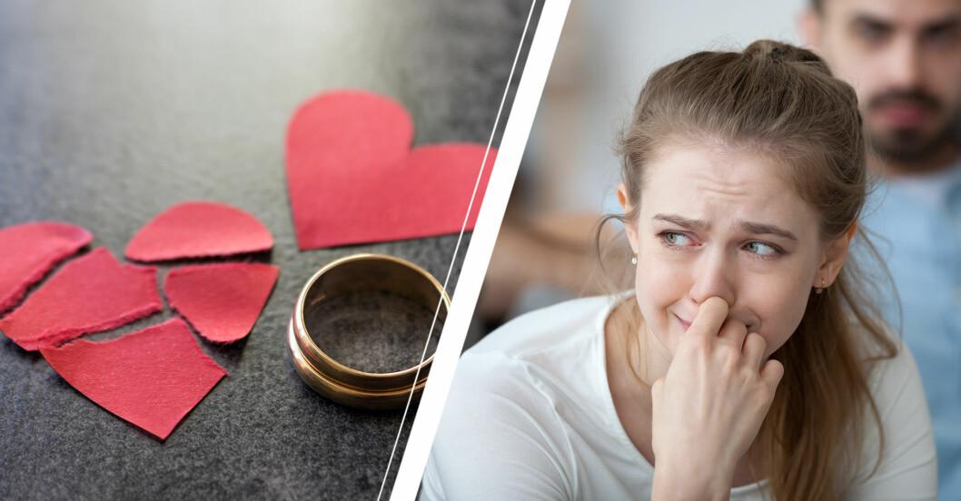 Ett trasigt och ett helt pappershjärta bredvid två ringar och en kvinna i närbild som gråter.