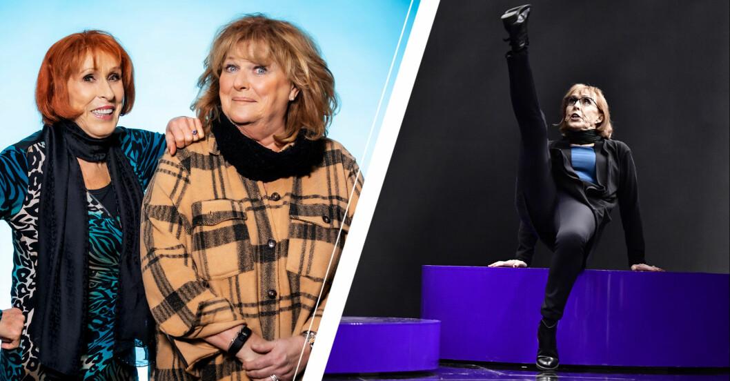 Eva Rydberg och Ewa Roos i Melodifestivalen.