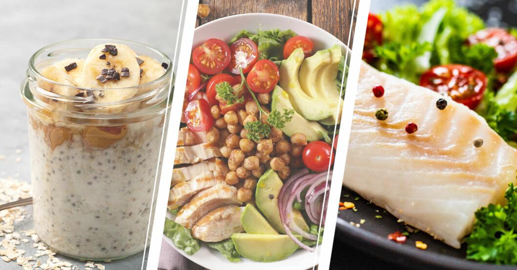 exempel på bra mat att äta under en dag