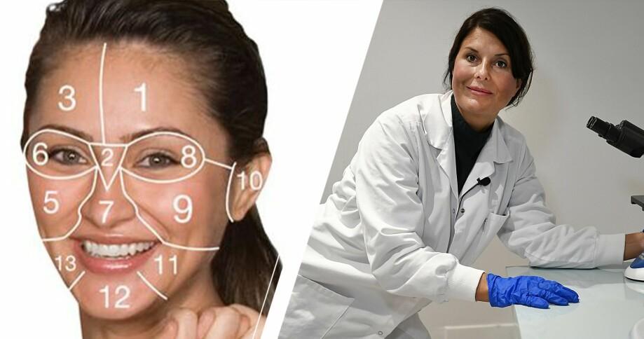 Facemapping-karta och hudforskaren Johanna Gillbro