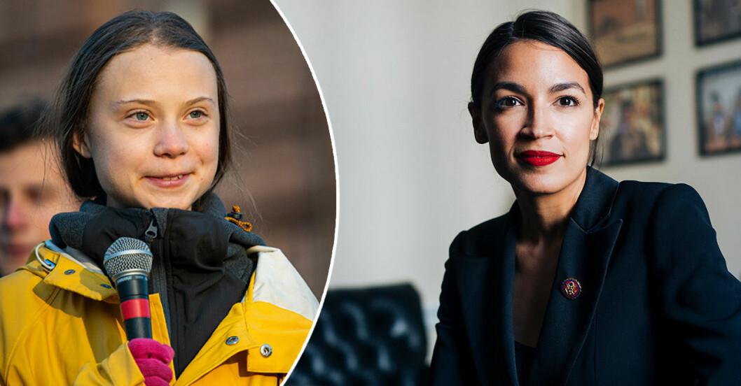 Greta Thunberg och Alexandria Ocasio-Cortez