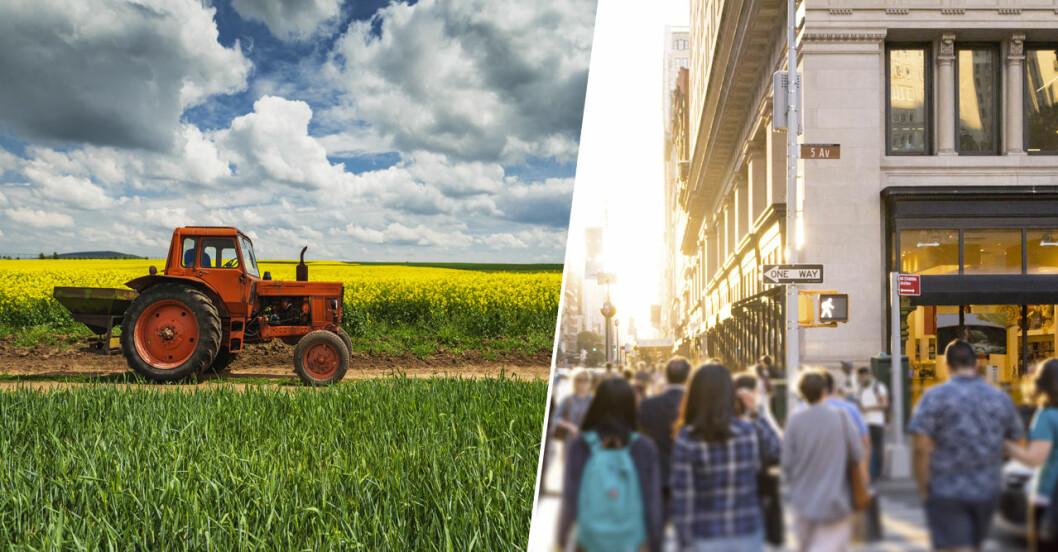 Fetman ökar snabbare på landet än i städerna.