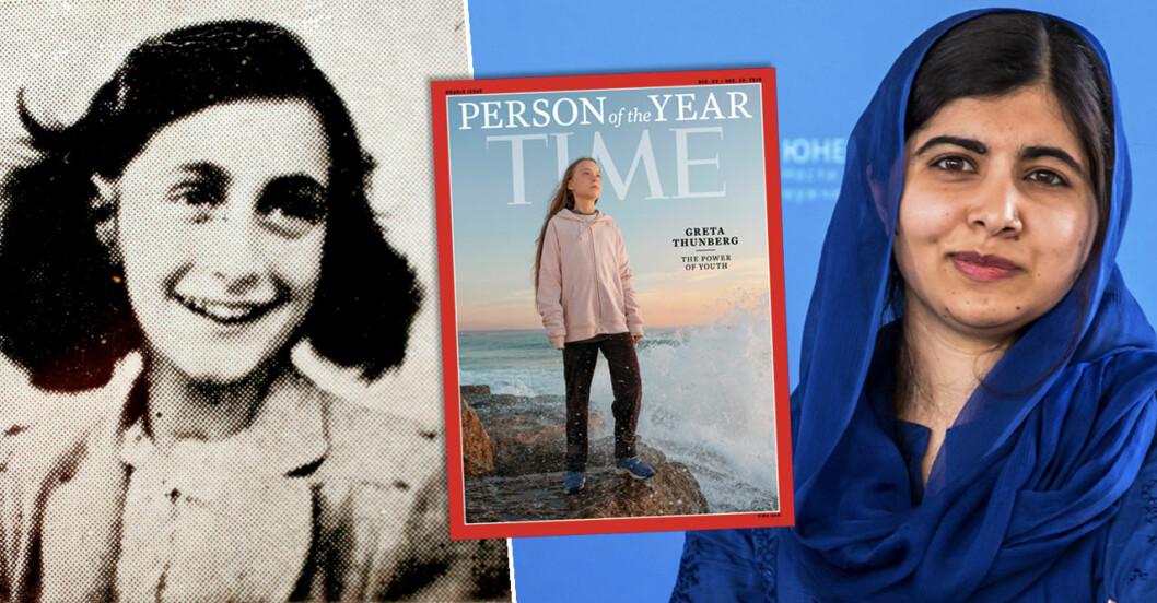 Anne Frank, Greta Thunberg och Malala Yousafzai.