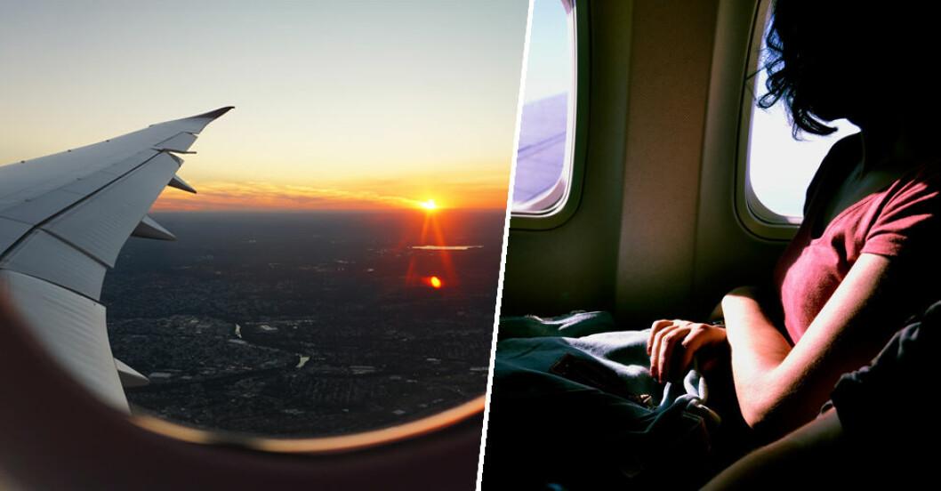 UV-strålningen går genom fönstret på flygplanet.