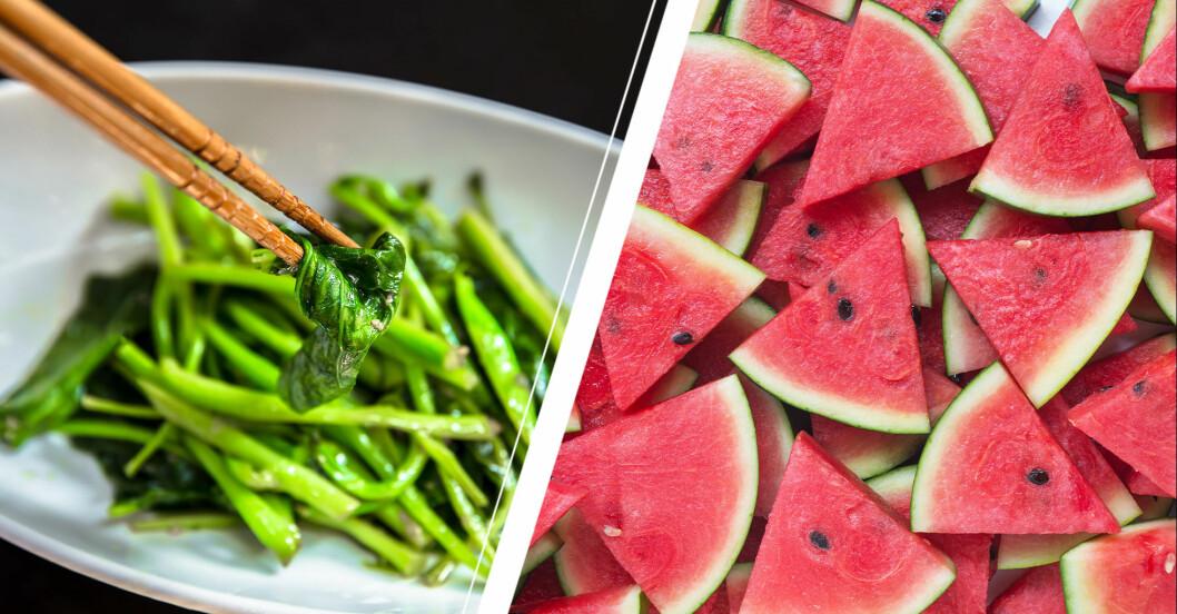 Sauterade gröna blad och vattenmelonbitar