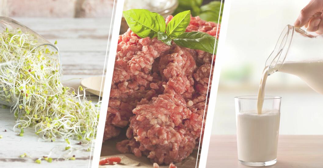 groddar, köttfärs och mjölk.