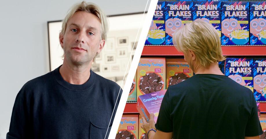 Foto på Anders Hansen som tittar in i kameran och på Anders Hansen som står framför en hylla med frukostflingor.