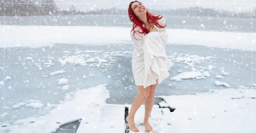 kvinna vinterbadar