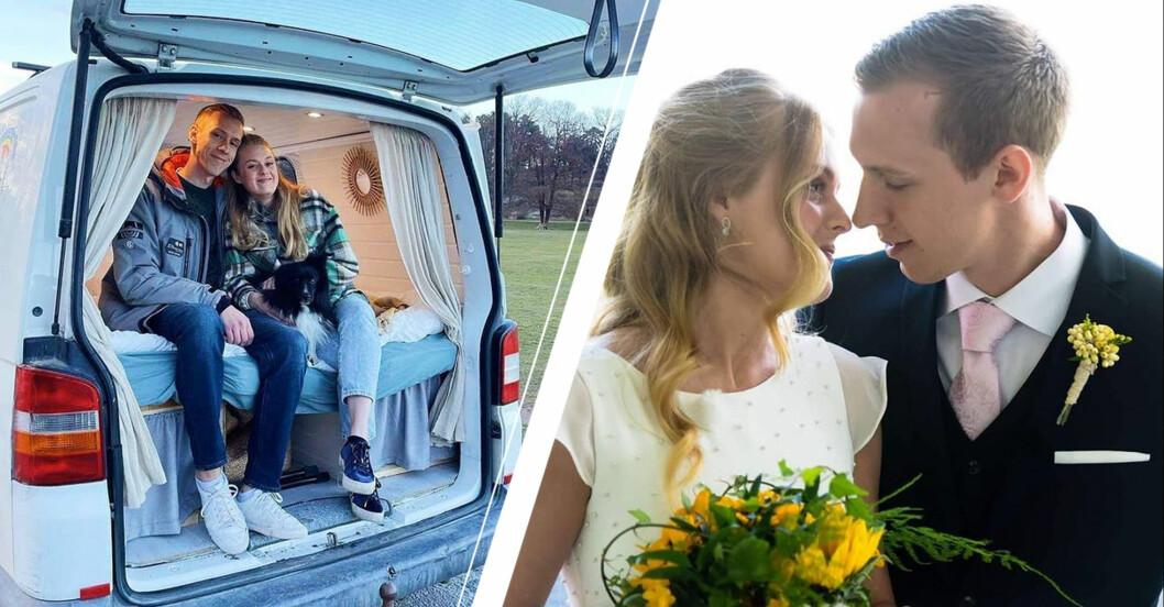 Vänster: Anton och Sofia i sin skåpbil. Höger: Sofia och Anton när de gifter sig.