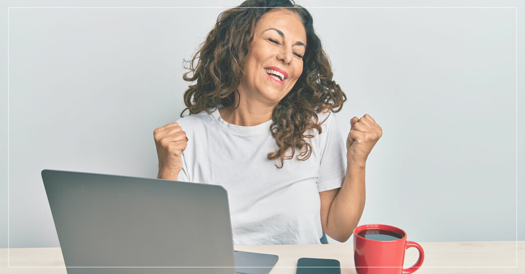 kvinna känner arbetsgladje