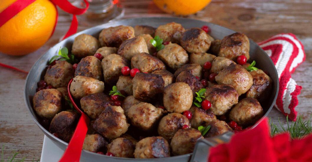 Glutenfria köttbullar med julkryddor.