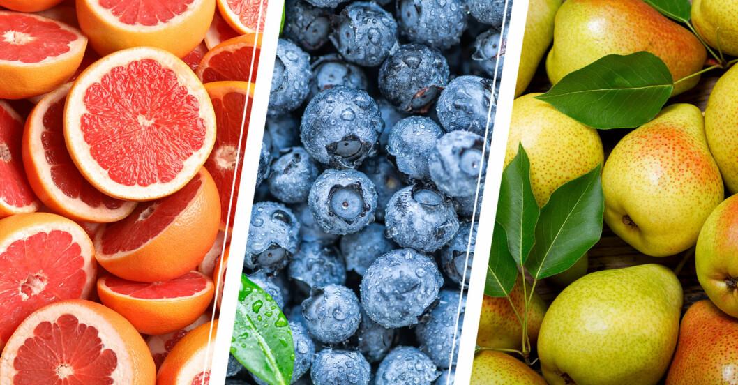 Grapefrukt, blåbär och päron har lite kalorier.