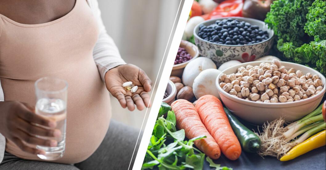 Gravid kvinna tar extra folsyra och äter bönor och grönsaker.
