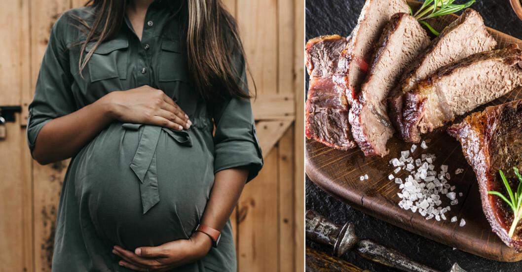 Gravid kvinna och välstekt kött