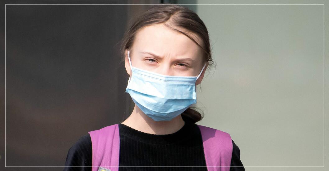 Greta Thunberg med munskydd.
