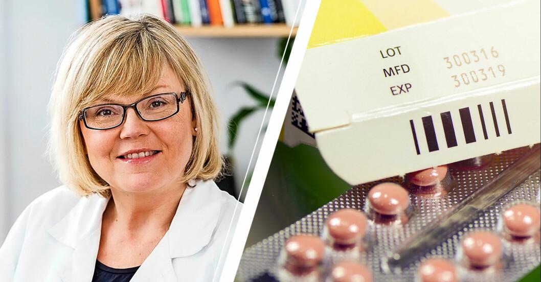 Kvinnlig läkare i vit rock intill bild av läkedemelsförpackning och piller där bäst före-datum syns.